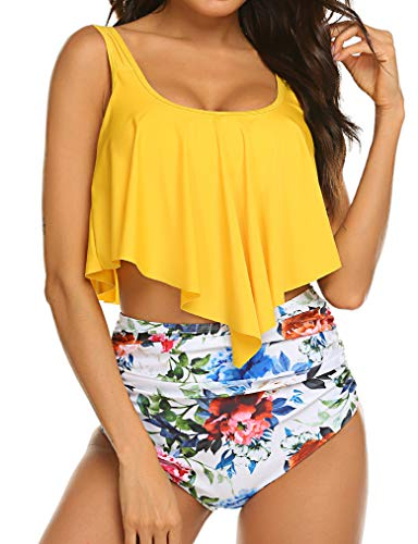 Naggoo Womens High Waisted Swimsuit Ruffle Print Bikini Swimwear 2 Pieces Bathing Suits Yellow Flower XL