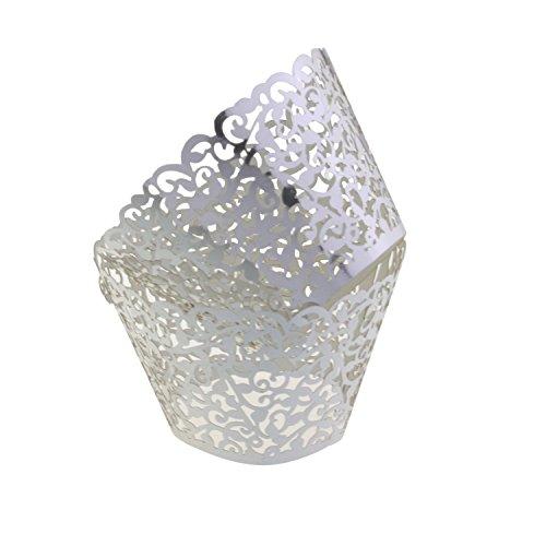 HG-X 50 PCS Flower Vine Filigree Cutout Lace Cupcake Wrapper Wraps Liner Wedding Party Cake Decoration (Silver)