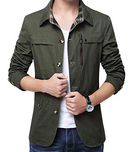(chouyatou Men's Spring Casual Button Front Single Breasted Cotton Lightweight Work Jacket (Large, Army Green))