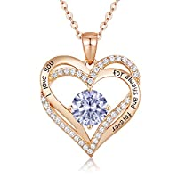 CDE Forever Love Heart Women Necklace 925 Sterling Silver Rose Gold Plated September Birthstone Pendant Necklaces for Women with 5A Cubic Zirconia Jewelry Birthday Gifts for Women