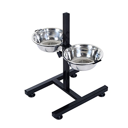 - New Stainless Steel Adjustable Height Pet Dog Elevated Double Bowl Diner Feeder Dish