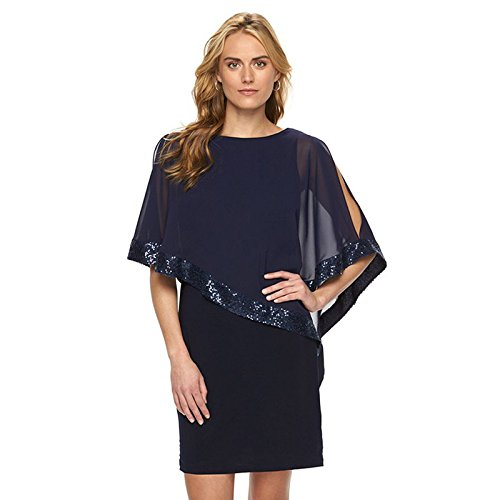 Suelto Fiesta La Vestir Mujer XINGMU De Blue Knee O De Cuello Sequined Vestido Camisa Mariposas Casual Length zZ55xq