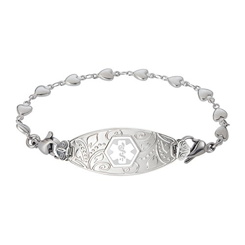 Divoti Custom Engraved Lovely Filigree Medical Alert Bracelet -Heart Link Stainless -White-7.0