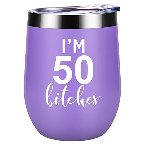 (I'm 50 - Funny 50th Birthday Gifts for Women - Best Turning 50 Year Old Birthday Gift Ideas for Wife, Mom, Sisters, Her, Friends, Coworkers - Coolife 12 oz Stainless)
