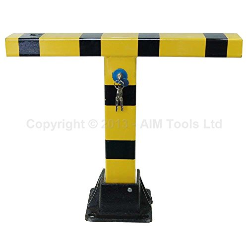 Rocwing Straight Bollard Yellow Heavy Duty Foldable Bollard With Cylinder Lock for Security Driveway Parking