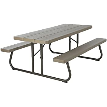 lifetime round picnic table and benches 44 inch top almond molded picnic table. Black Bedroom Furniture Sets. Home Design Ideas