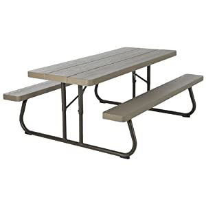 lifetime wood grain picnic table and benches 6 feet brown