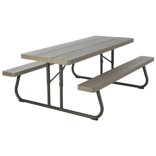 Lifetime  60105  Wood Grain Picnic Table and Benches, 6 Feet, Brown - Lifetime Folding Picnic Tables