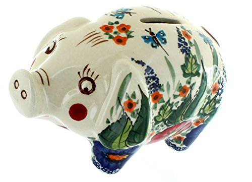 """Completely Custom {6"""" x 4'' Inch} 1 Single Medium, Coin & Cash Bank Decoration for Holding Money, Made of Grade A Genuine Ceramic w/ Cerulean Antique Green Piggy Style {White, Red, & Blue} by mySimple Products (Image #1)"""
