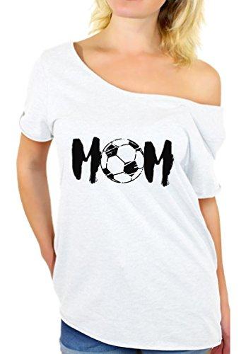 Awkward Styles Women's Soccer Mom Mothering Graphic Off Shoulder Tops T Shirt Black Sport Mom Mother's Day Gift White M (Sports T-shirt Soccer White)