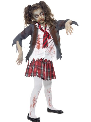 Smiffy's Women's Zombie School Girl Costume Tartan Skirt Jacket Mock Shirt & Tie, Grey, Teen US Age 12 Years -