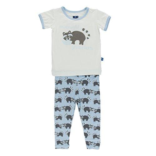 (KicKee Pants Little Boys Print Short Sleeve Pajama Set, Pond Raccoon, 2T)