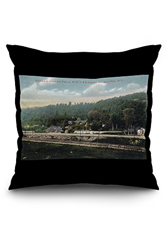 Olean, New York - WNY&P Railroad Lines; Riverhurst Park Entrance Scene (20x20 Spun Polyester Pillow, Black Border) (Olean New York compare prices)