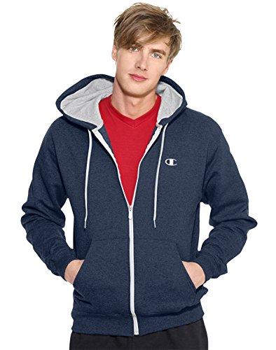 Champion Men's Full-zip Eco Fleece Jacket Hoodie, Navy, Large