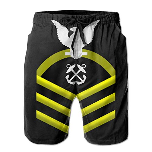 (Hdecrr FFRE Navy Chief Petty Officer Shoulder Patch Rate Insignia Gold Mens Summer Casual Swim Trunks Shorts Quick Dry Swimming Shorts with Pockets)