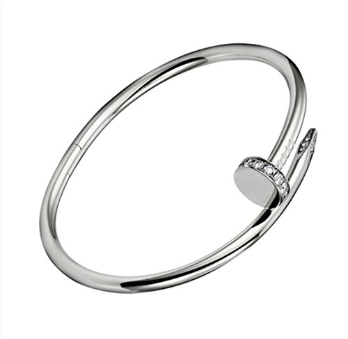 FHMZ(TM) Stainless Steel Nail Style Love Silver Plated Inlay Zircon Diamond Bangle Bracelet Oval High Polish Fits 6.5 inch wrists
