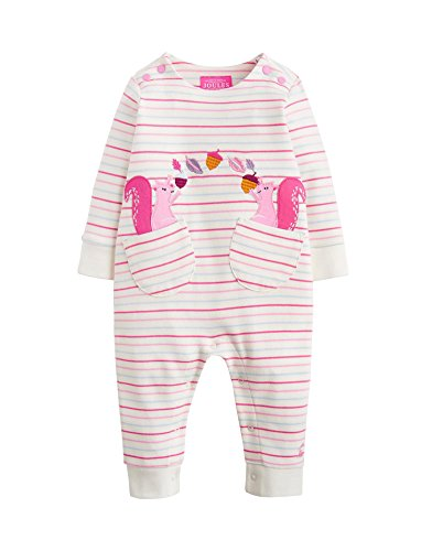 Joules Kids Baby Girl's Gracie Applique Coverall (Infant) Multi Stripe Squirrels 18-24 Months