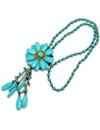 "Luxury Bib Bauble 25"" Necklace Agate Turquoise & Howlite Flower Beads 90-890-3080"