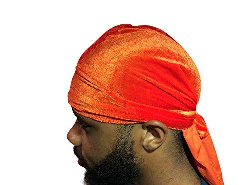 Velvet Premium Durag 360, 540, 720 Waves Extra Long Straps for Men Du-RAG (Orange)