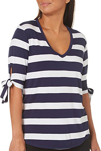 - C&C California Womens Striped Tie Sleeve Top Large Navy Blue/White