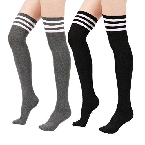 Womens Over Knee Stripe Socks Girls Thigh High Long Cosplay Socks Black White by Azue (Image #7)