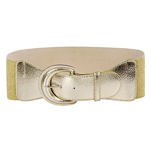 Women's Retro Wide Metal Belt Interlock Buckle Waist Belt (L,Champagne)
