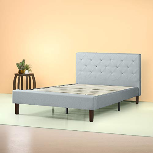 White Queen Platform Bed (Zinus Shalini Upholstered Diamond Stitched Platform Bed / Mattress Foundation / Easy Assembly / Strong Wood Slat Support / Sage Grey, Queen)