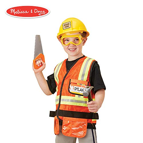 Melissa & Doug Construction Worker Role-Play Costume Set, Pretend Play, Fabrics, Machine-Washable, 17.5