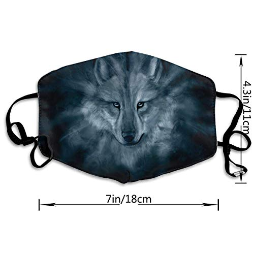 Wolf Anti Dust Half Face Mouth Mask, Unisex Cotton Warm Fashion Adjustable Washable Safety Mask