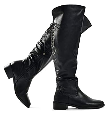LUSTHAVE Women's Knee High Flat Boots Lace Up Cushioned Lining Drawstring Tall Western Riding Boots