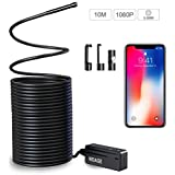 Wireless Endoscope Compatible iPhone Android, NIDAGE WiFi 5.5mm 1080P HD Borescope Inspection Camera 2.0MP Semi-Rigid Snake Camera for Inspecting Motor Engine Sewer Pipe Vehicle (10M)