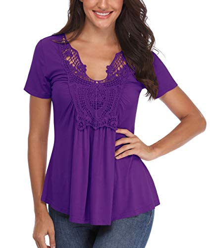 (Peasant Blouse for Women V Neck Sexy Shirts Short Sleeve Ruched Front Crocheted Lace Neckline Tops Purple)
