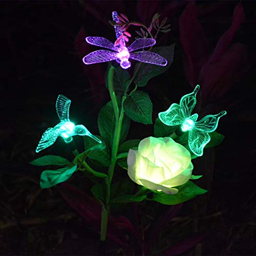 (Abkshine Solar Outdoor Garden Decorative Lights, All-in-1 Color Changing Hummingbird Butterfly Dragonfly Rose Stake Lights for Summer Yard Grave Flower Bed Decor)