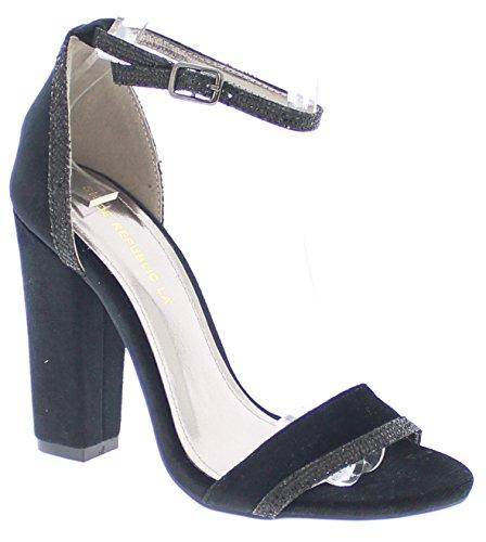 Black Toe Sandal LA Trim w Chunky Open Heel Mirin Shoe Decorative Republic qUWaOtP