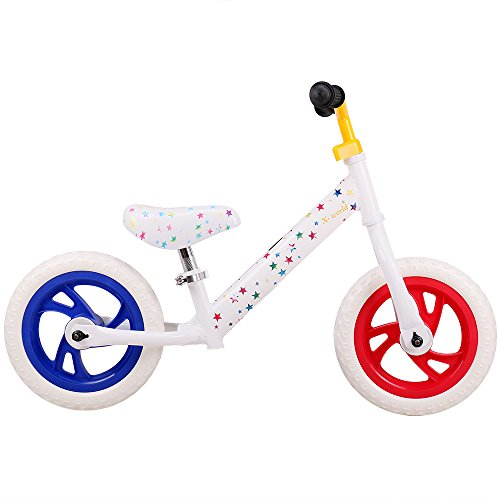 JOYSTAR 12 inch Balance Bike for Toddler 1.5-5 Years Old(Blue, Orange, Pink, Red) (White)