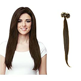HairExtensionSale Pre Bonded U Nail Tip Fusion Hair Extension 100 Strands Virgin 100% Remy Human Hair Straight Ash…
