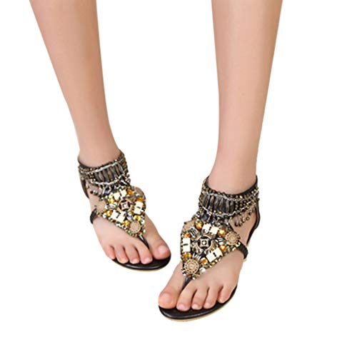 (Cenglings Women Bohemia Clip Toe Flip Flops Crystal Beaded Flat Sandals Beach Ankle Strap Slip On Sandals Black )