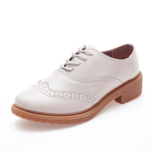 Z.suo Kvinners Perforert Blonder-up Wingtip Lær Flate Oxfords Vintage Oxford Sko Brogues Kremhvite