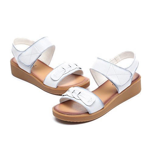 Summer Black Leather Bottom Middle Bottom ZCJB 41 Soft Female Size aged Flat Mom's Pregnant Non Sandals White Women Color slip Shoes T8q1txwpw