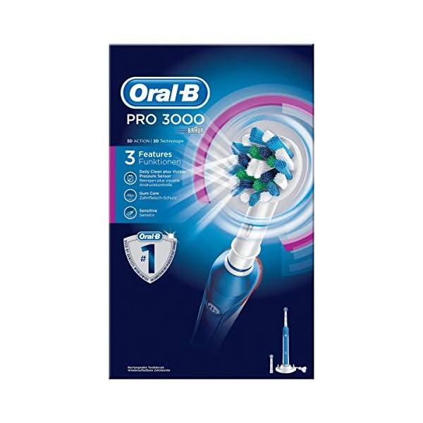 Oral-B Pro 3000 - Cepillo de dientes eléctrico de rotación, color blanco y azul 12