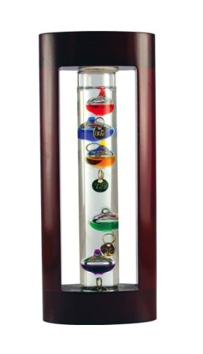 Global Village Galileo Thermometer - Cherry Wood Finish 11 Inch