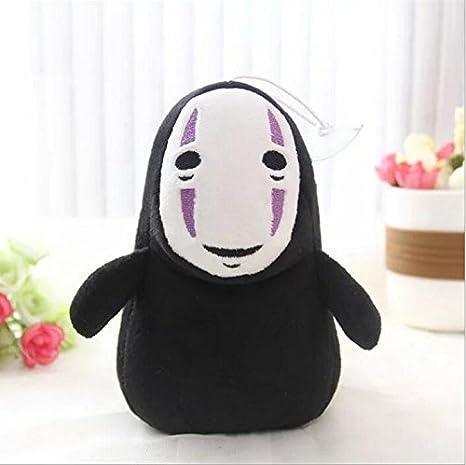 N / A Colgante ESPIRITADO LEJOS Hombre sin Rostro Negro Sin Cara Gost Peluche Coleccionable Anime Personaje Cadena Bolsa Juguetes Muñeca 15cm