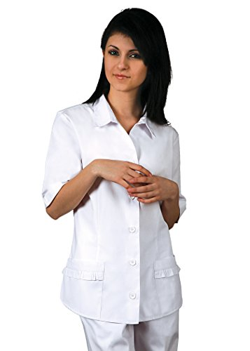 Adar Universal Button Down Ruffle Pocket Top - 615 - White - L Poplin Ruffle Top