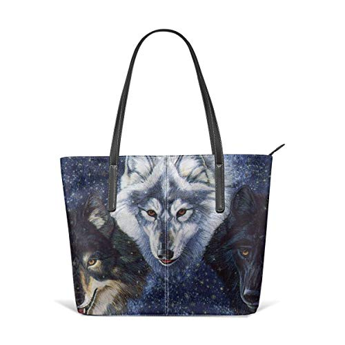 Women's Soft Leather Tote Shoulder Bag Wolf Pack Big Capacity Casual Portable Handbag Purses Work Travel Bag (The Wolf Of Wall Street First Wife)