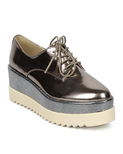 Women Double Stacked Spectator Creeper - Pointy Toe Oxford Platform - Double Platform Metallic Dress Shoe - HC01 by DbDk Collection - Pewter Metallic (Size: 8.0) - Polished Pewter Blocks