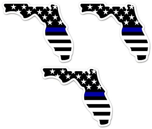 Florida Blue Line Sticker Decal - Florida Shaped Blue Line Flag - Vinyl Decal Sticker - 3 Pack - 4