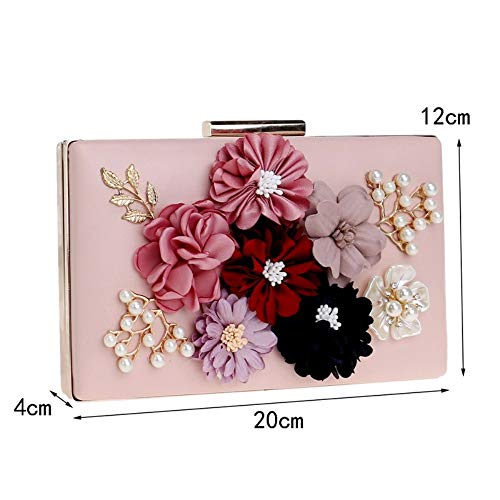 Evening Flower Fashion Evening New Banquet Ladies GROSSARTIG Clutch Bag Black Dress Bag B0wqx58O5