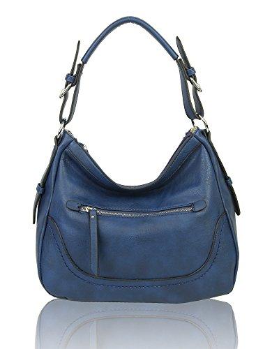 Women's Multi Pocket Leather Medium Tote Hobo Handbag Shopper Crossbody Shoulder Bag Navy