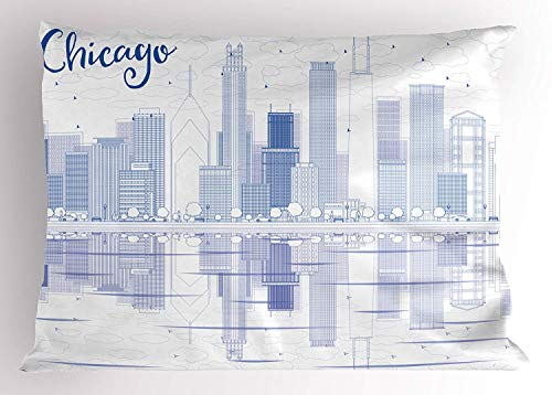 K0k2t0 Chicago Skyline Pillow Sham, Skyscrapers Reflection on Lake Michigan USA City Architecture Print, Decorative Standard Queen Size Printed Pillowcase, 30 X 20 inches, Blue and White