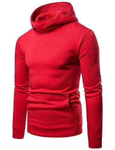 lunga manica fit con marrone Glestore slim cappuccio da nero Felpa rosso blu invernale uomo XpUw6Ywxq